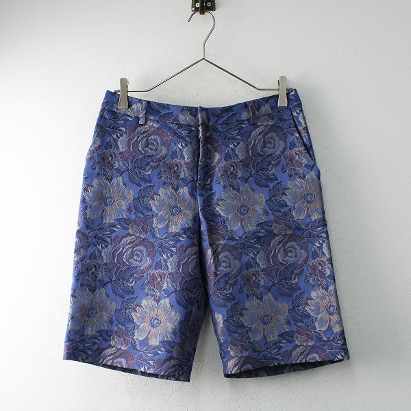 Lois CRAYON ロイスクレヨン フラワーゴブラン ハーフパンツ M/ブルー 花柄 ボトムス【2400012483149】