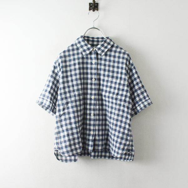 MHL. MARGARET HOWELL マーガレットハウエル リネンコットン チェックシャツ 3/ホワイト ネイビー【2400012485518】