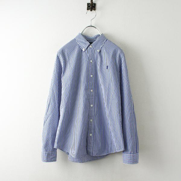 Gymphlex ジムフレックス ストライプ コットン ボタンダウンシャツ 14/ホワイト ブルー【2400012485617】