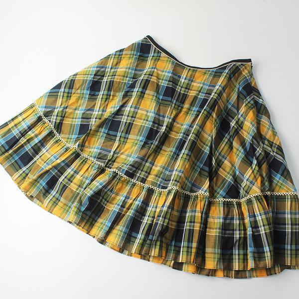 Lois CRAYON ロイスクレヨン タータンチェックプリント ボリュームスカート M/イエロー ボトムス【2400012487451】