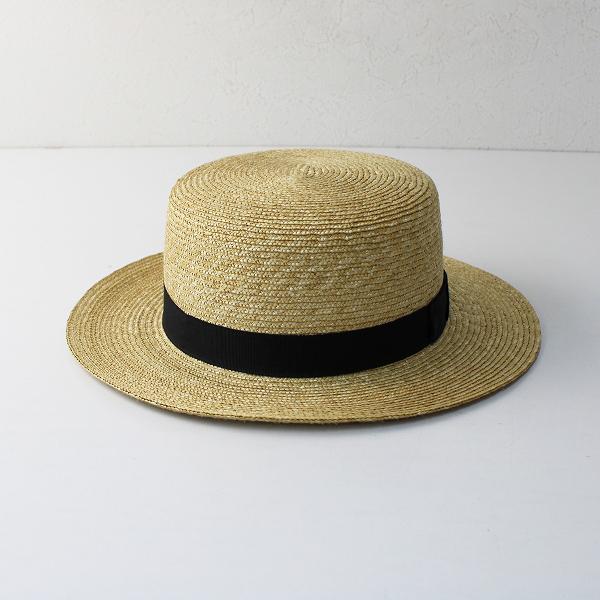 田中帽子店 Marin G マランジー 女性用カンカン帽子 57.5cm/ナチュラル ブラック 麦わら帽子【2400012487826】