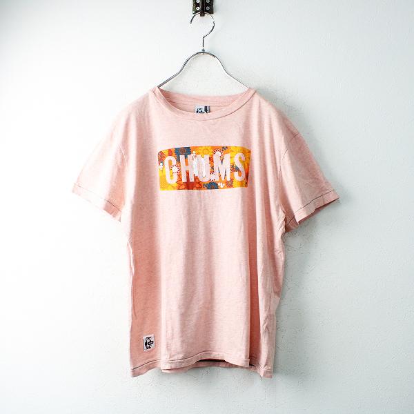 CHUMS チャムス コットン フラワーロゴプリント Tシャツ S/ピンク トップス【2400012489547】