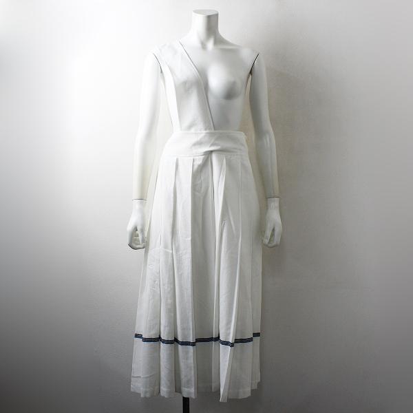定価3.6万 PLAIN PEOPLE プレインピープル コットンワッフルワンショルダーストラップラインスカート 9/ホワイト【2400012491908】