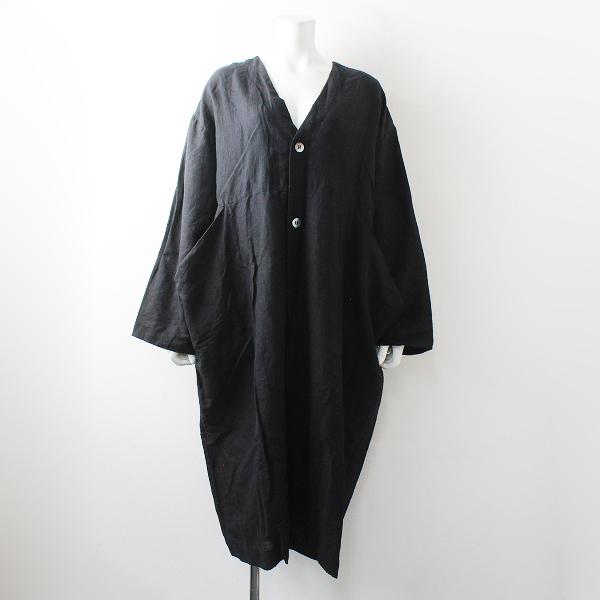 美品 Veritecoeur ur ヴェリテクール FC-005 Khadi Linen Coat 2枚仕立て カディリネンコート F/ブラック クロ インド製【2400012492134】