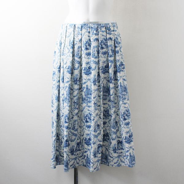 美品 2020SS 定価2.5万 Lois CRAYON ロイスクレヨン サニーガーデン スカート M/ブルー ボトムス【2400012492950】