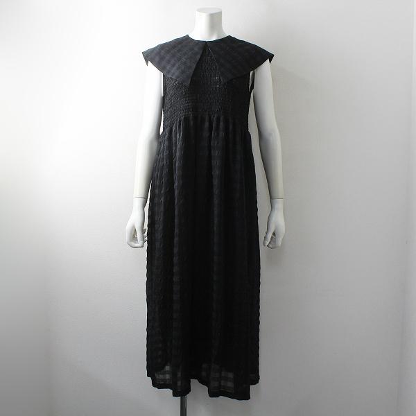 美品 近年 定価2.8万 COEL コエル ギンガムチェックワンピース 36/ブラック ノースリーブ ドレス【2400012494206】