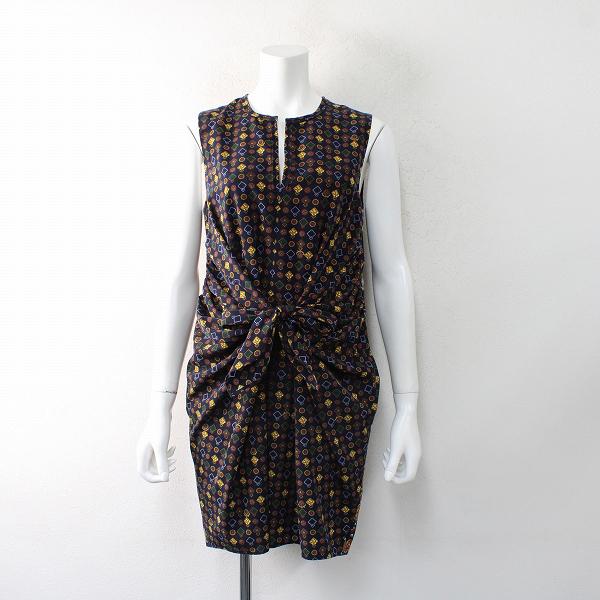 Lois CRAYON ロイスクレヨン エンブレムプリント ノースリーブワンピース M/ネイビー ドレス クラシカル【2400012495203】