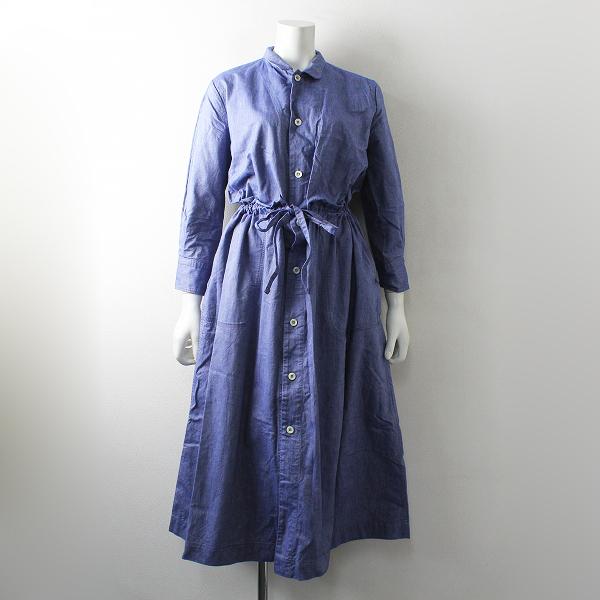 美品 2020SS はる 45R フォーティーファイブアール オックスフォードのシャツドレス 3/ブルー 45rpm【2400012495456】