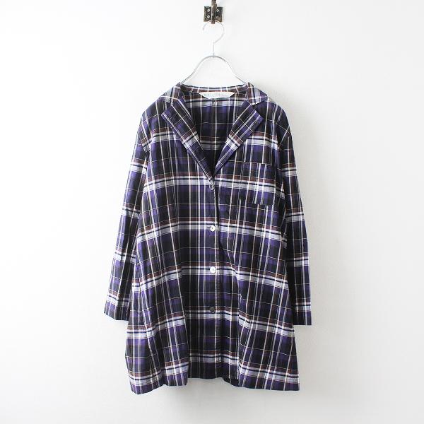 MidiUmi ミディウミ コットン オープンカラー チェックシャツ/パープル トップス【2400012496217】