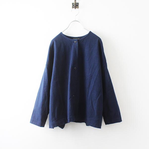 TANDEY オローネ コットン ノーカラーシャツジャケット/ネイビー トップス【2400012496262】
