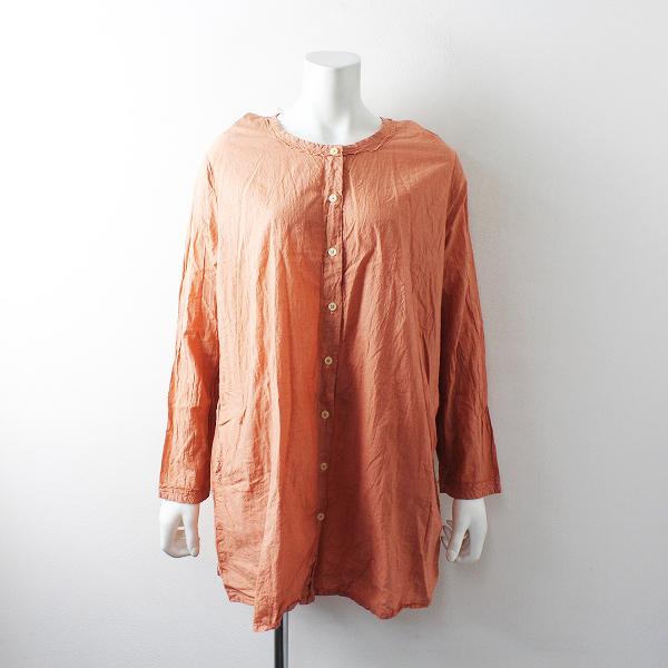 AH APPLE HOUSE アップルハウス 染色加工 ノーカラーシャツワンピース /オレンジ【2400012496415】