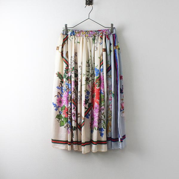 2019SS COMME des GARCONS コムデギャルソン シルク混スカーフ柄パッチワーク ボリュームロングスカートS【2400012496538】