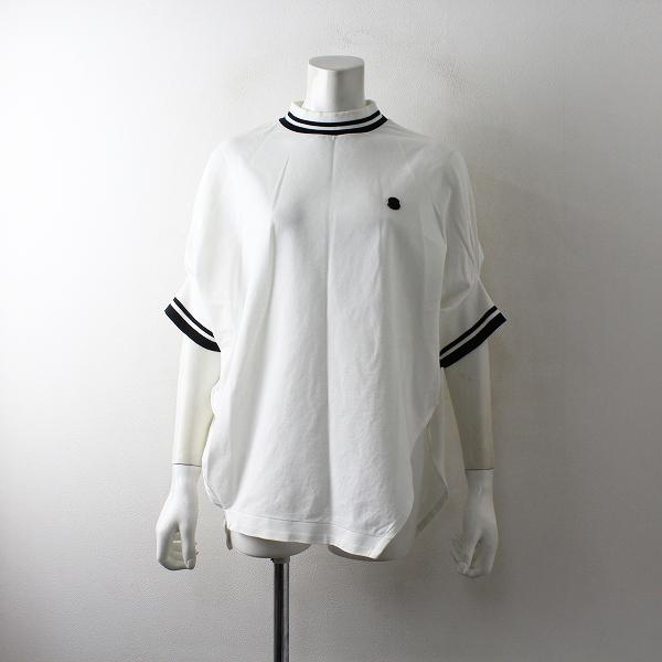 2021SS sacai サカイ モックネック カノコ ドルマンTシャツ 1/ホワイト 鹿の子 トップス 変形【2400012496644】