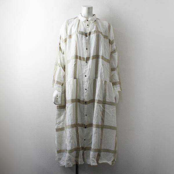 ICHI Antiquite's イチ アンティークス LATTICE CHECK DRESS ラティスチェックワンピース F/ホワイト ベージュ【2400012497184】