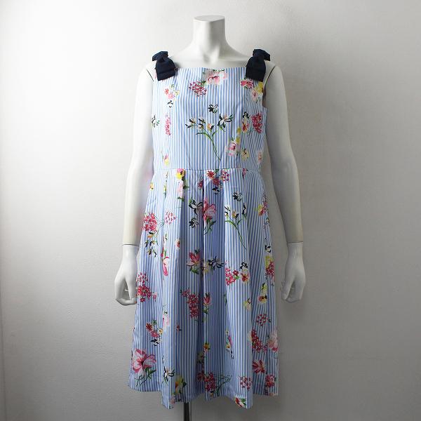 未使用品 定価2.8万 Rose Tiara ローズティアラ フラワー刺繍風ワンピース 40/ブルー ドレス【2400012497528】