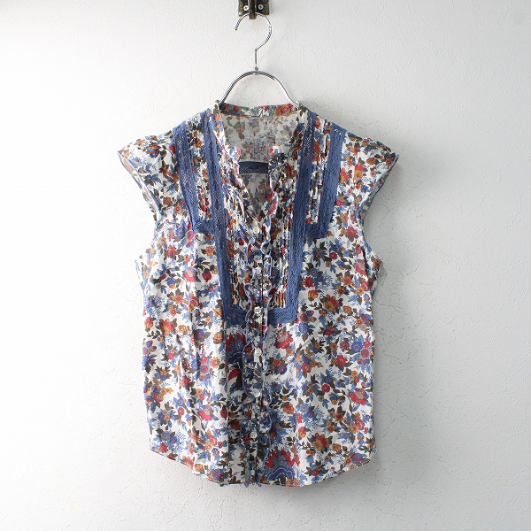 Lois CRAYON ロイスクレヨン レースピンタックフラワープリントブラウスM/ブルー ホワイト 花柄 シャツ【2400012498174】