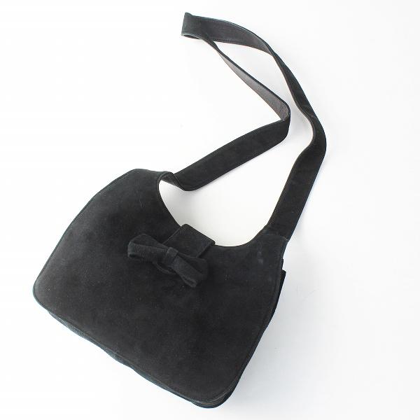 KANEKO ISAO カネコイサオ スエード調 リボン ショルダーバッグ/ブラック 鞄【2400012499720】