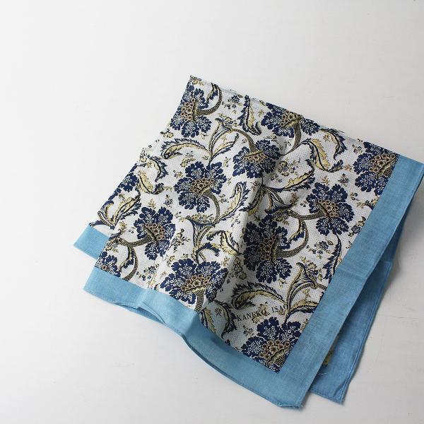 美品 KANEKO ISAO カネコイサオ フラワープリント スカーフ/ブルー 小物【2400012499768】
