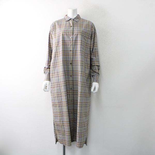 美品 2020AW LENO リノ 2002-dr001 チェックコットンオープンフロントドレス 1/カーキベージュ系 羽織り【2400012501010】