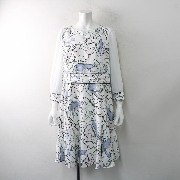 美品 大きいサイズ TO BE CHIC トゥービーシック ラインフラワープリントドレス 42/ホワイト フレア【2400012503434】