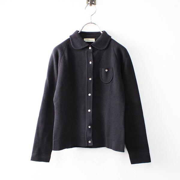 J&M Davidson ジェイアンドエムデヴィッドソン ウールニットジャケット/ブラック トップス 丸襟【2400012503885】