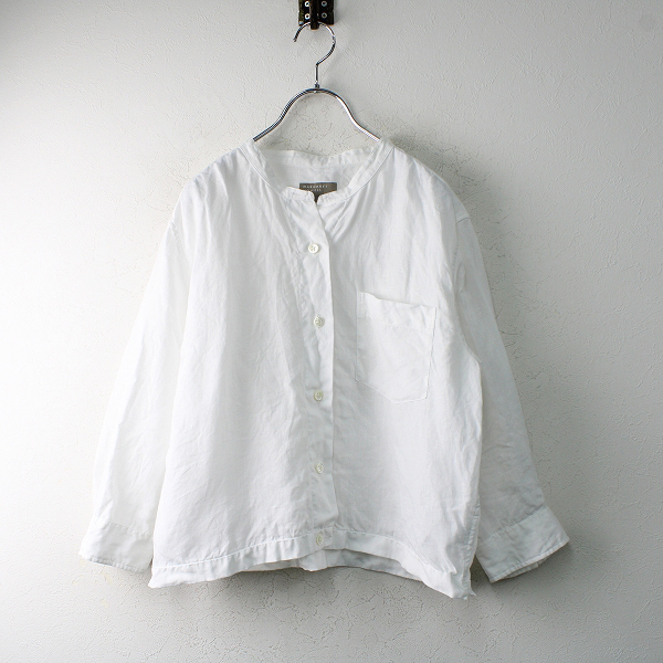 2018SS MARGARET HOWELL マーガレットハウエル リネンカラーレスシャツ 3/ホワイト ノーカラー【2400012503960】