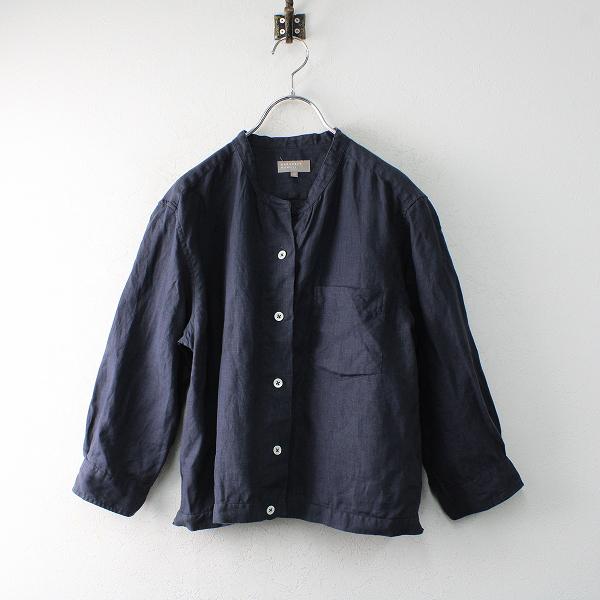 2018SS MARGARET HOWELL マーガレットハウエル リネンカラーレスシャツ 3/ネイビー ノーカラー【2400012504004】