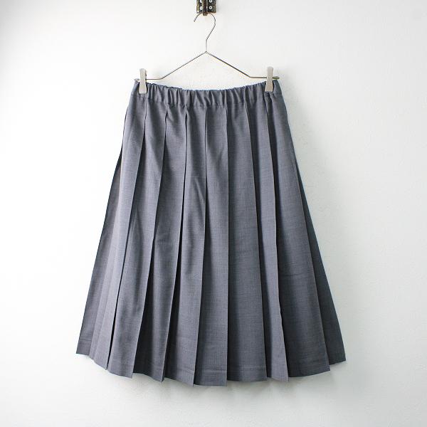 美品 Charpentier de Vaisseau シャルパンティエ ドゥ ヴェッソ ウールプリーツスカート1/グレー ボトムス【2400012506213】