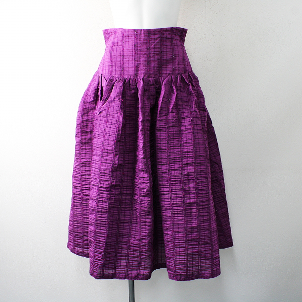美品 CELFORD セルフォード ジャガード柄織りハイウエストギャザースカート38/パープル【2400012507371】