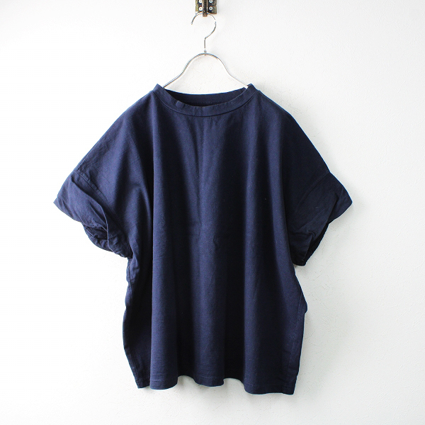 2019SS nest Robe ネストローブ コットン度詰天竺ツイストスリーブTee F/ネイビー ワイドTシャツ トップス【2400012507678】