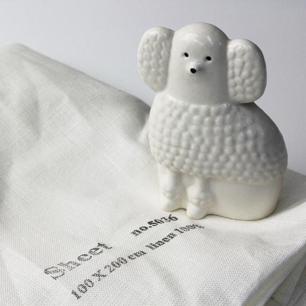 スウェーデン製 Lisa Larson リサラーソン プードル 陶器 オブジェ/ホワイト 犬【2400012508378】
