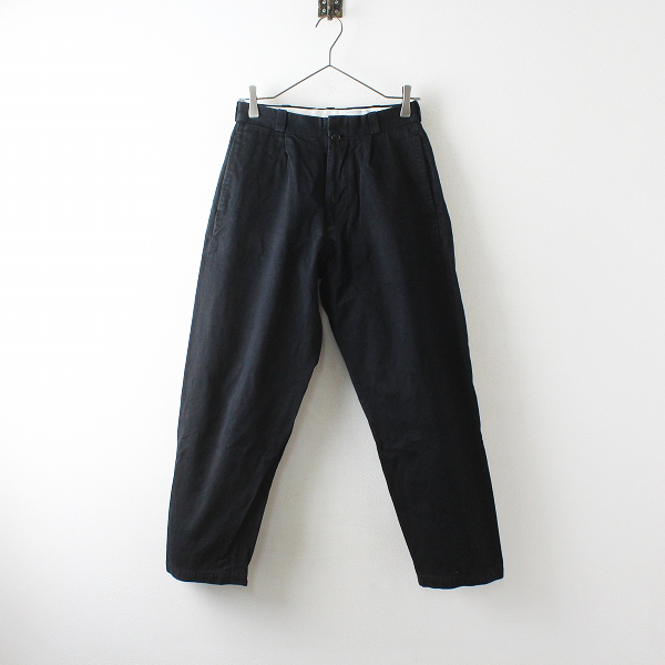 YAECA ヤエカ 156054 CHINO CLOTH PANTS TAC TAPERED 28/ブラック チノクロスパンツ タックテーパード【2400012511927】