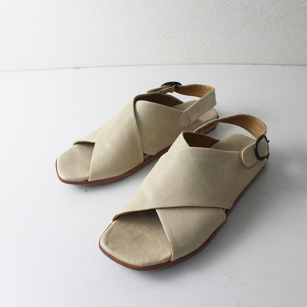 P.MONJO ペップモンジョ レザー クロスデザイン サンダル 37/アイボリー 靴【2400012513044】