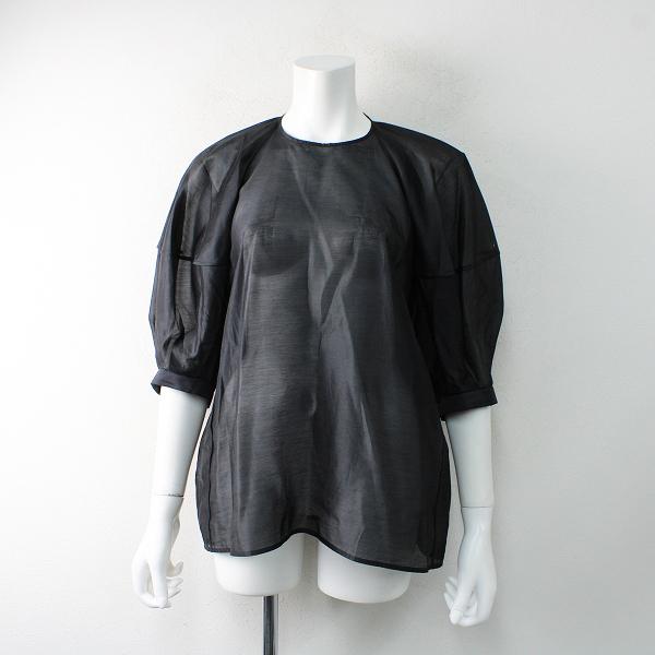 即完売品 2021SS BLAMINK ブラミンク コットンシルクドルマンショートスリーブブラウス 36/ブラック クロ シアー素材【2400012513549】-.