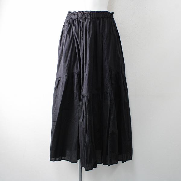2018 ADIEU TRISTESSE アデュートリステス インドコットンティアードスカート F/ブラック【2400012514980】