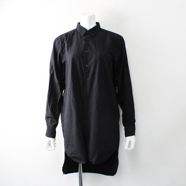 AD2019 BLACK COMME des GARCONS ブラックコムデギャルソン ポリエステル ロングシャツ S/ブラック【2400012515277】