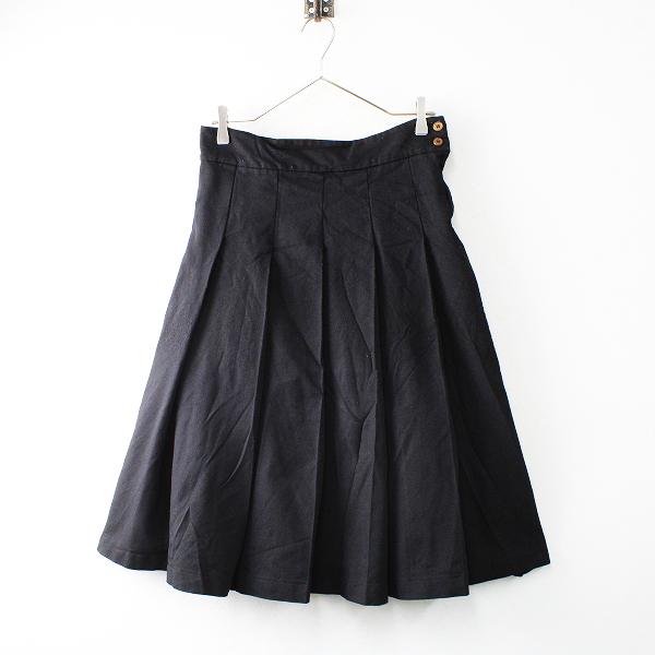 AD2013 コムコム COMME des GARCONS コムデギャルソン ポリエステル縮絨 プリーツスカート XS/ブラック【2400012515352】