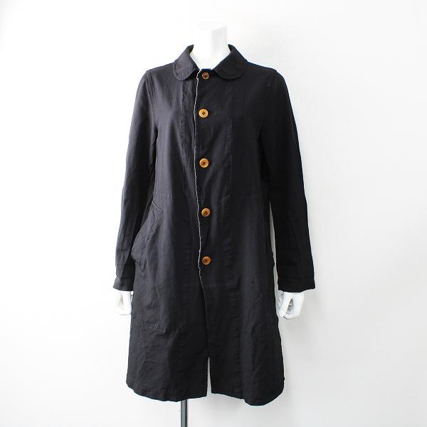 AD2013 コムコム COMME des GARCONS コムデギャルソン ポリエステル縮絨 丸襟 コート XS/ブラック【2400012515383】