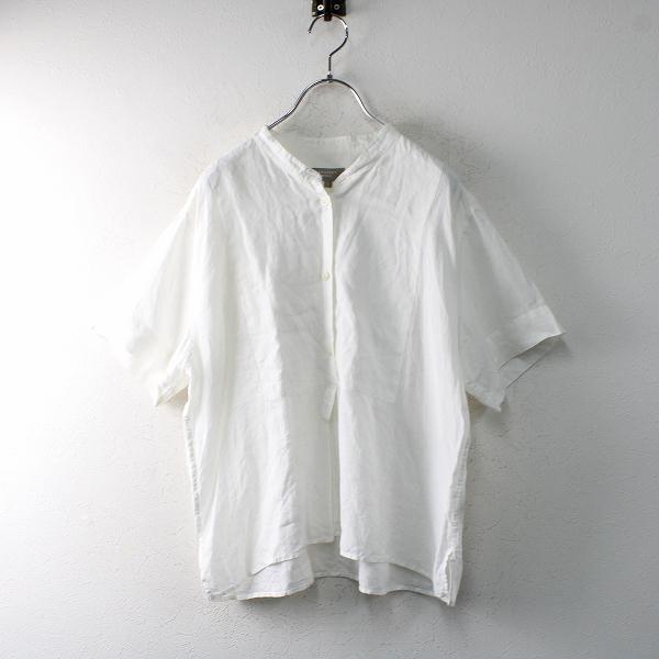 2018SS MARGARET HOWELL マーガレットハウエル リネン 半袖プルオーバーカラーレスシャツ1/ホワイト【2400012515420】