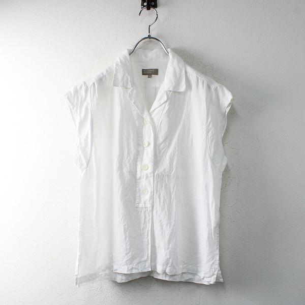 2020SS MARGARET HOWELL マーガレットハウエル SOFT LINEN open collar shirt ノースリーブシャツ 2/ホワイト【2400012515437】