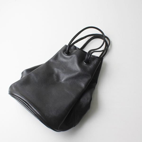 美品 ARTS&SCIENCE アーツアンドサイエンス Oval lantern bag ランタンバッグ/ブラック レザー 巾着【2400012515758】