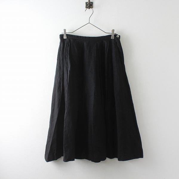 Lisette リゼッタ リネン ボックスタック フレアスカート 38/ブラック【2400012515826】