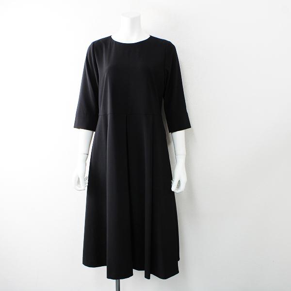 新品 未使用品 Crespi クレスピウエストボックスプリーツフォーマル ワンピース 38/ブラック ドレス【2400012516410】