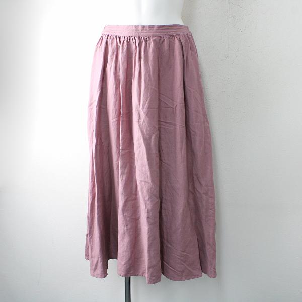 marble SUD マーブルシュッド リネンレーヨンイージーフレアロングスカート/ピンク【2400012516991】