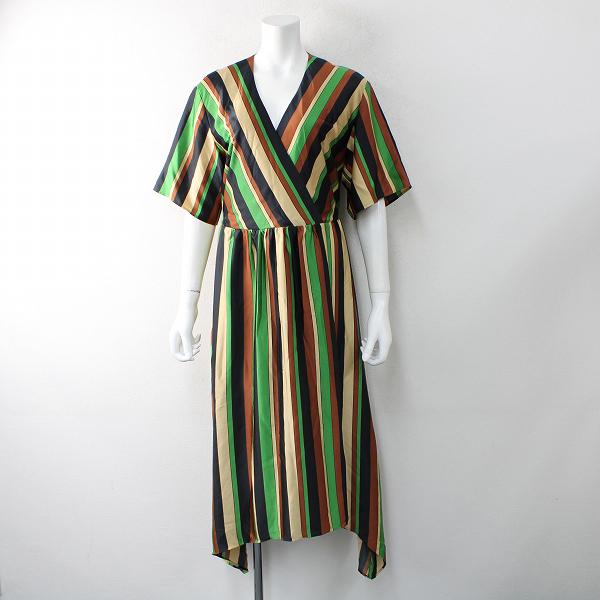 2021SS Lois CRAYON ロイスクレヨン ストライプ カシュクールワンピース M/ブラウン系 ドレス【2400012517226】
