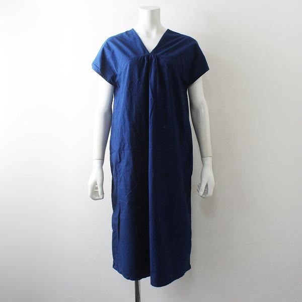えみおわす 藍染 ノースリーブ カレンワンピース/ブルー【2400012520523】