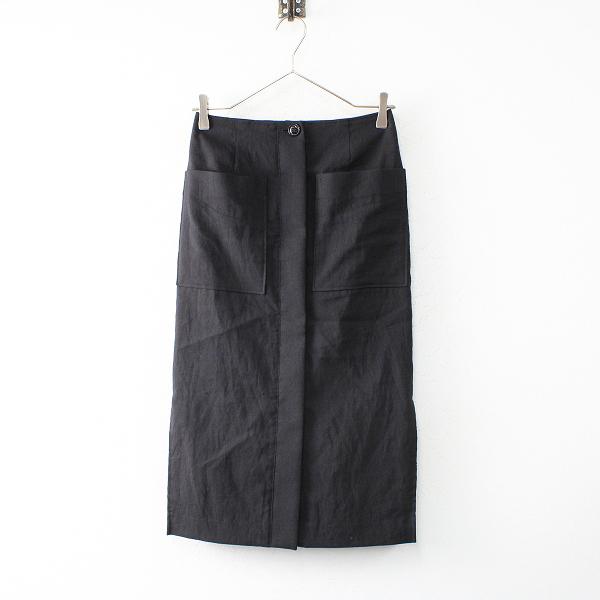 NOBLE Spick and Span ノーブル リネン フロントオープンタイトスカート /ブラック ボトムス【2400012520592】