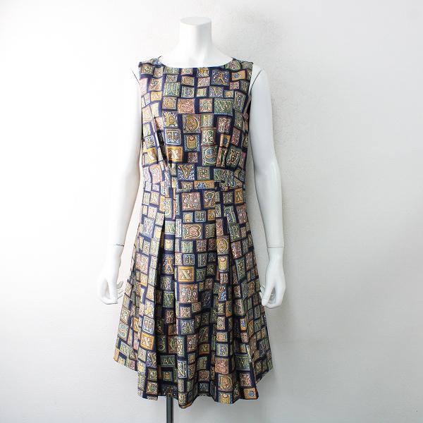 未使用品 定価2.9万 Lois CRAYON ロイスクレヨン ロゴタイププリント ワンピース M/ネイビー ドレス 【2400012521636】