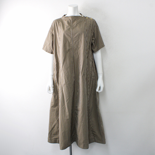 美品 2021AW 今季今期 定価3.1万 45R フォーティーファイブアール 秋色ダンプのドレス /ブラウン ストライプ 45rpm【2400012521988】