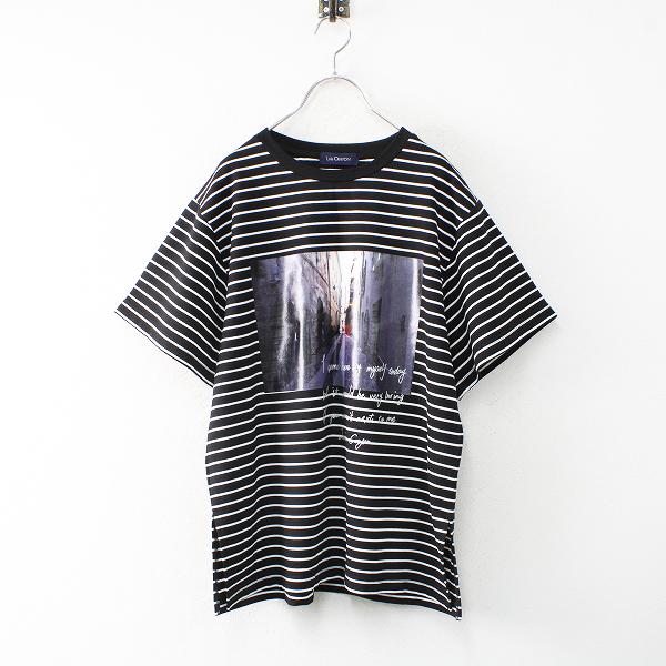 美品 2021SS Lois CRAYON ロイスクレヨン フォトプリント ビッグシルエットボーダーTシャツM/ブラック【2400012522121】